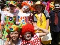 Children dressed up as clowns, Wellingborough Carnival 2010.