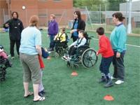 Disabled children playing sports