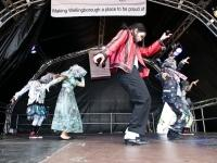 Michael Jackson impersonator on stage at Party in the Park, Wellingborough, 2010.