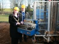 Mayor and Consort at construction site of new eco homes in Sywell, January 2010.