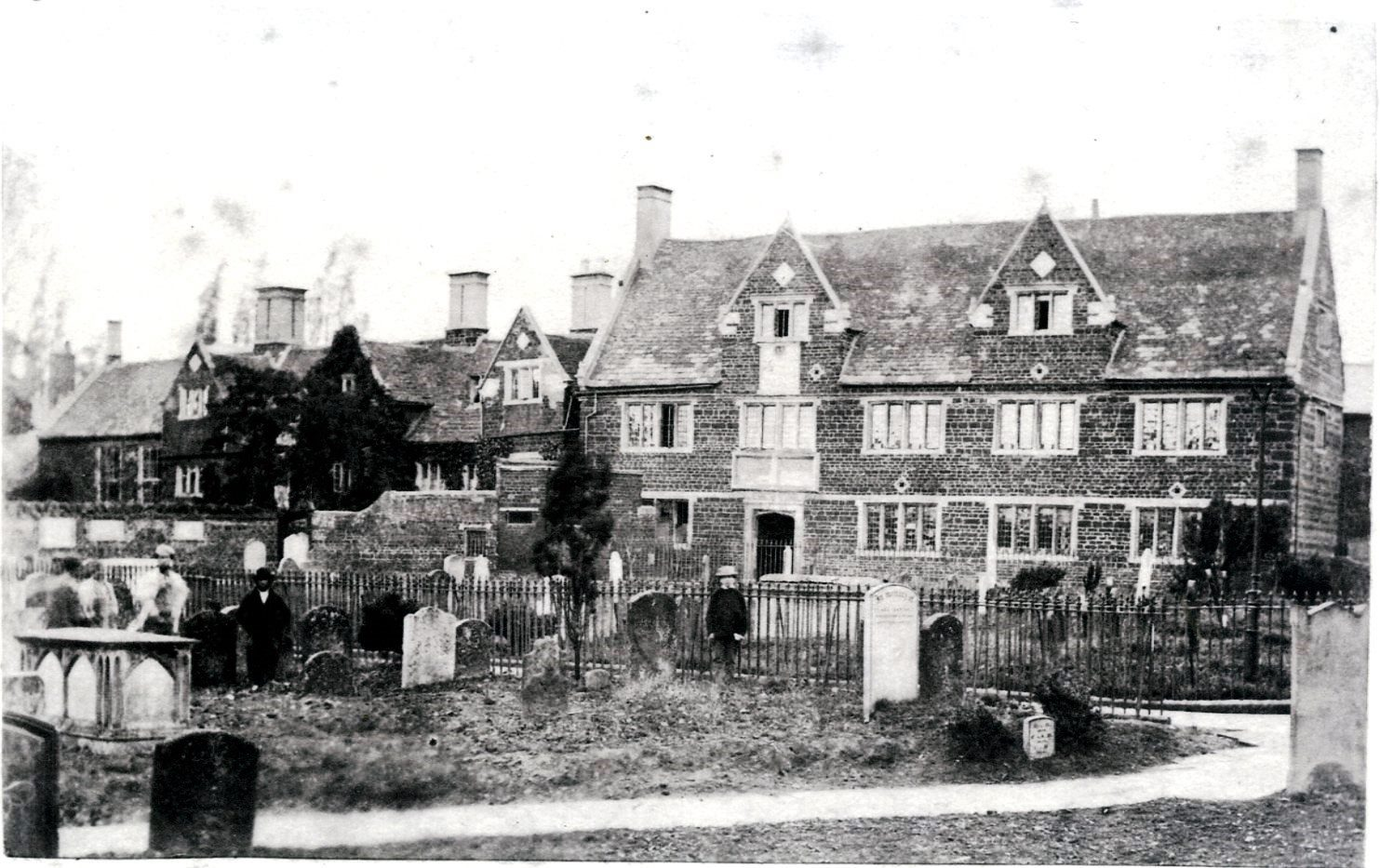 Blank and white photo of All Hallow's Church Hall when it was a Grammar School